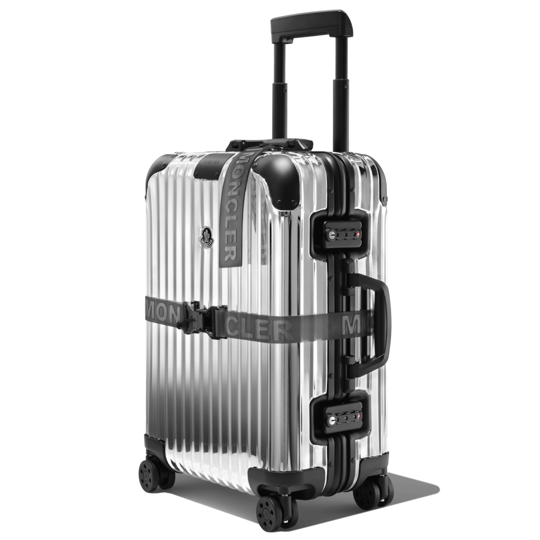 "Rimowa Moncler And  ""reflection"" Cabin Polished Aluminum Suitcase In Silver"