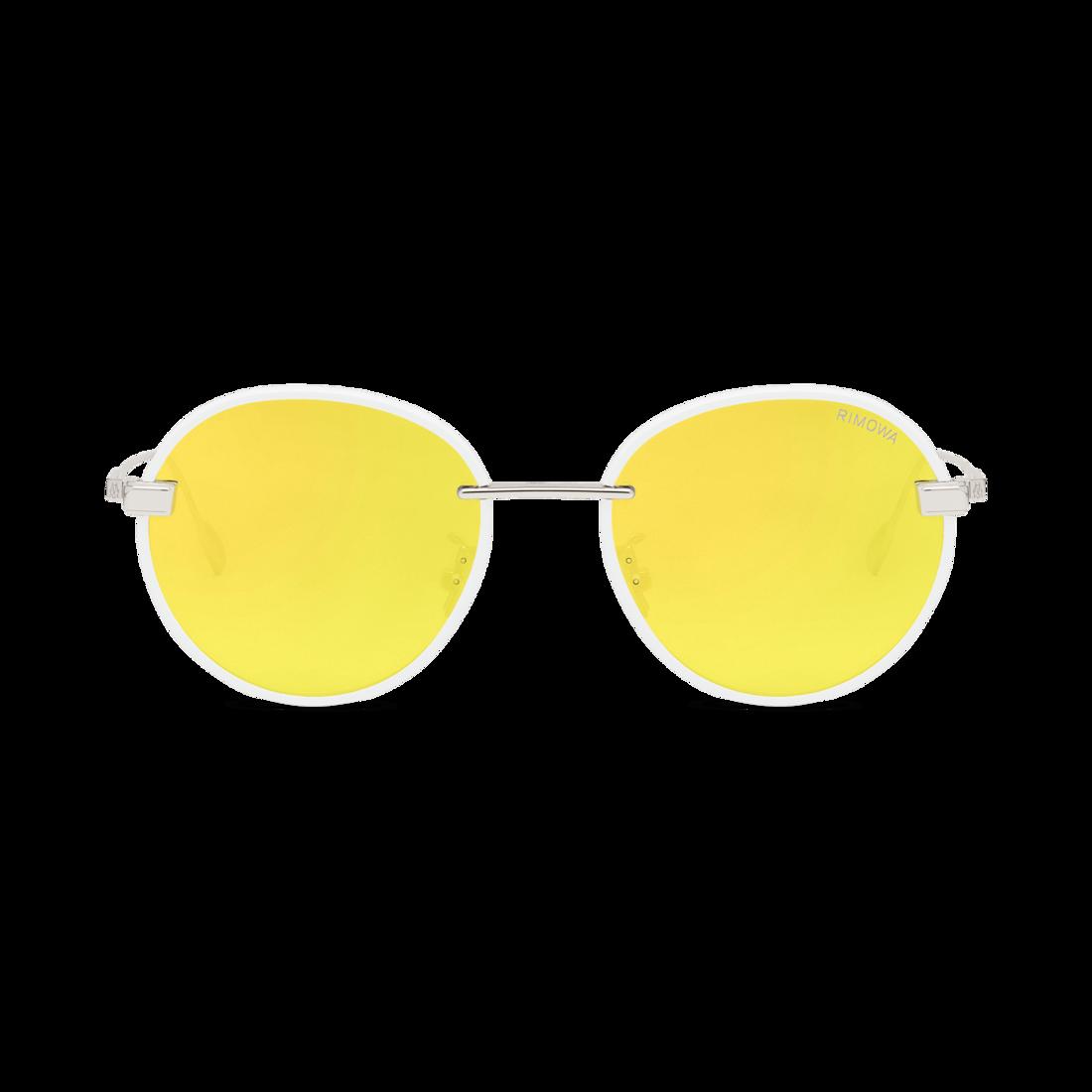 Rim Pantos White Yellow Mirrored Round Sunglasses Rimowa