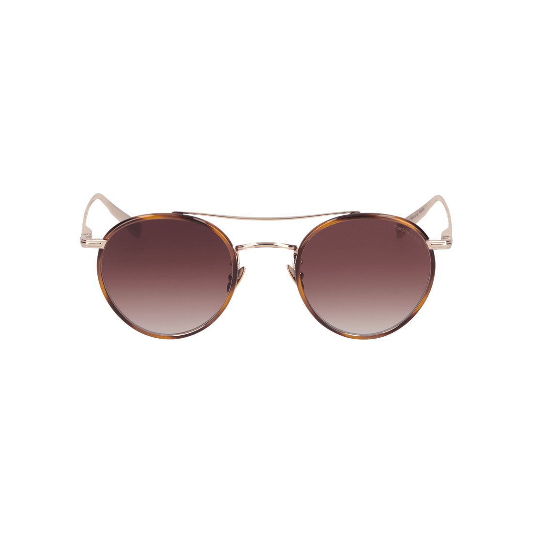 Gold & Brown Sunglasses in Metal and Acetate