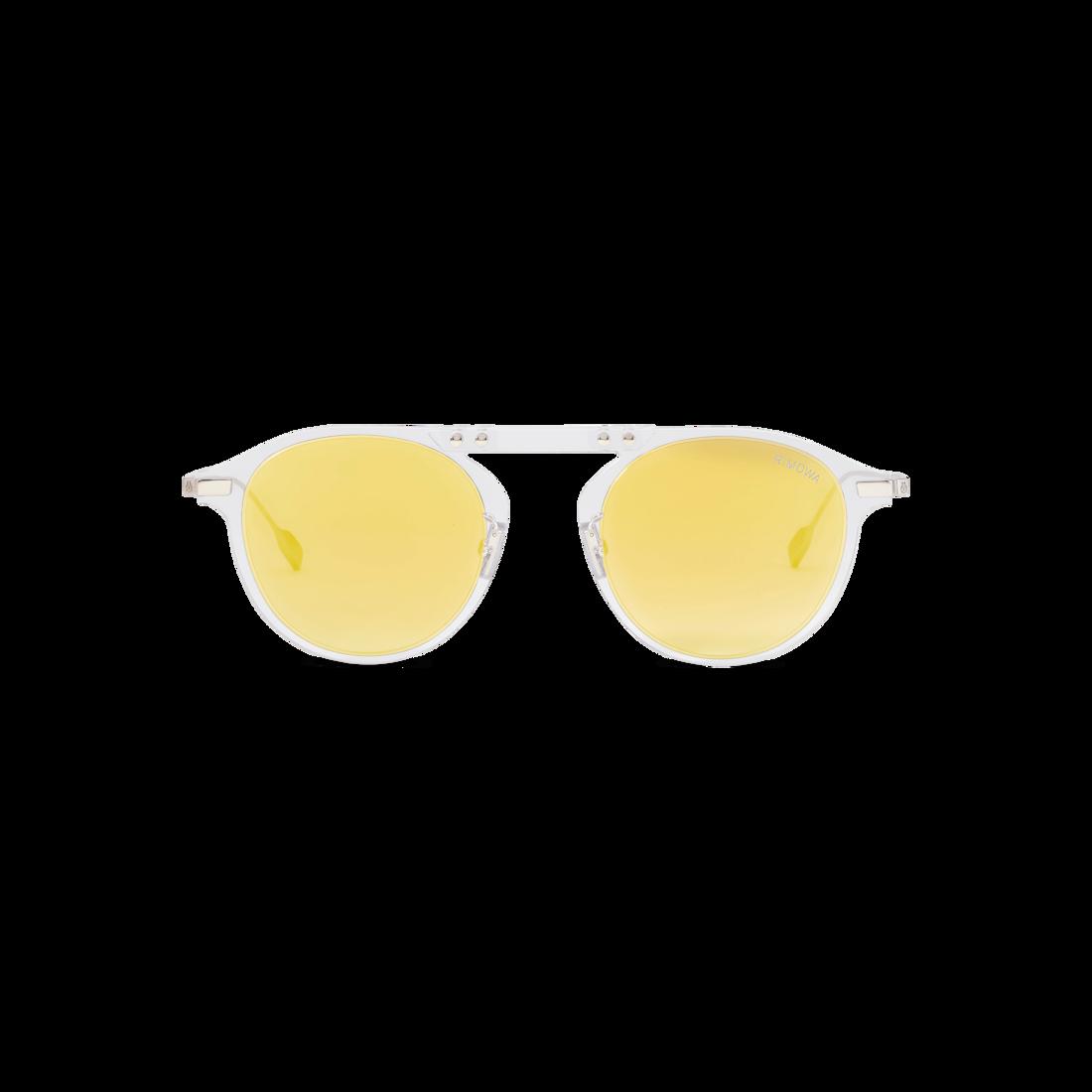 Bridge Pantos Crystal Yellow Mirrored Round Sunglasses Rimowa